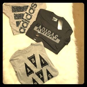 Three (3) Adidas t-shirts small gray shirts bundle